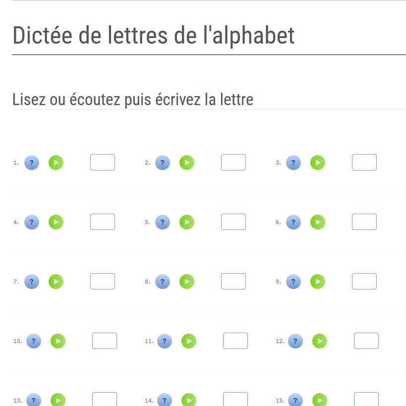 AlphaLire Dictée de lettres